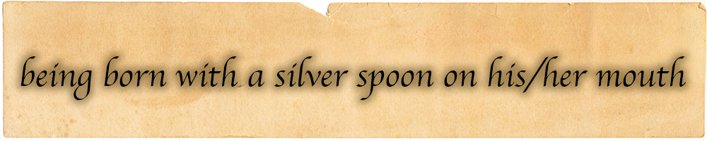 Being born with a silverspoon on his/her mouth